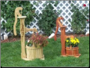 Pump w/ Wooden Bucket Planter/ Flower burning incl.